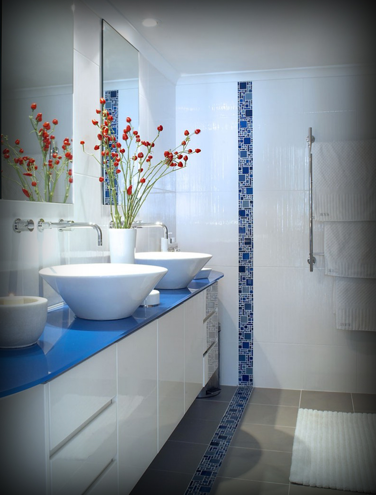 Beautiful Blue Glass Tile Bathroom - Behave2012 regarding Blue Glass Tile Bathroom