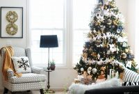 Beautiful Bold Neutral Glam Christmas Tree In The Living Room | This Is Our Bliss in New Christmas Living Room