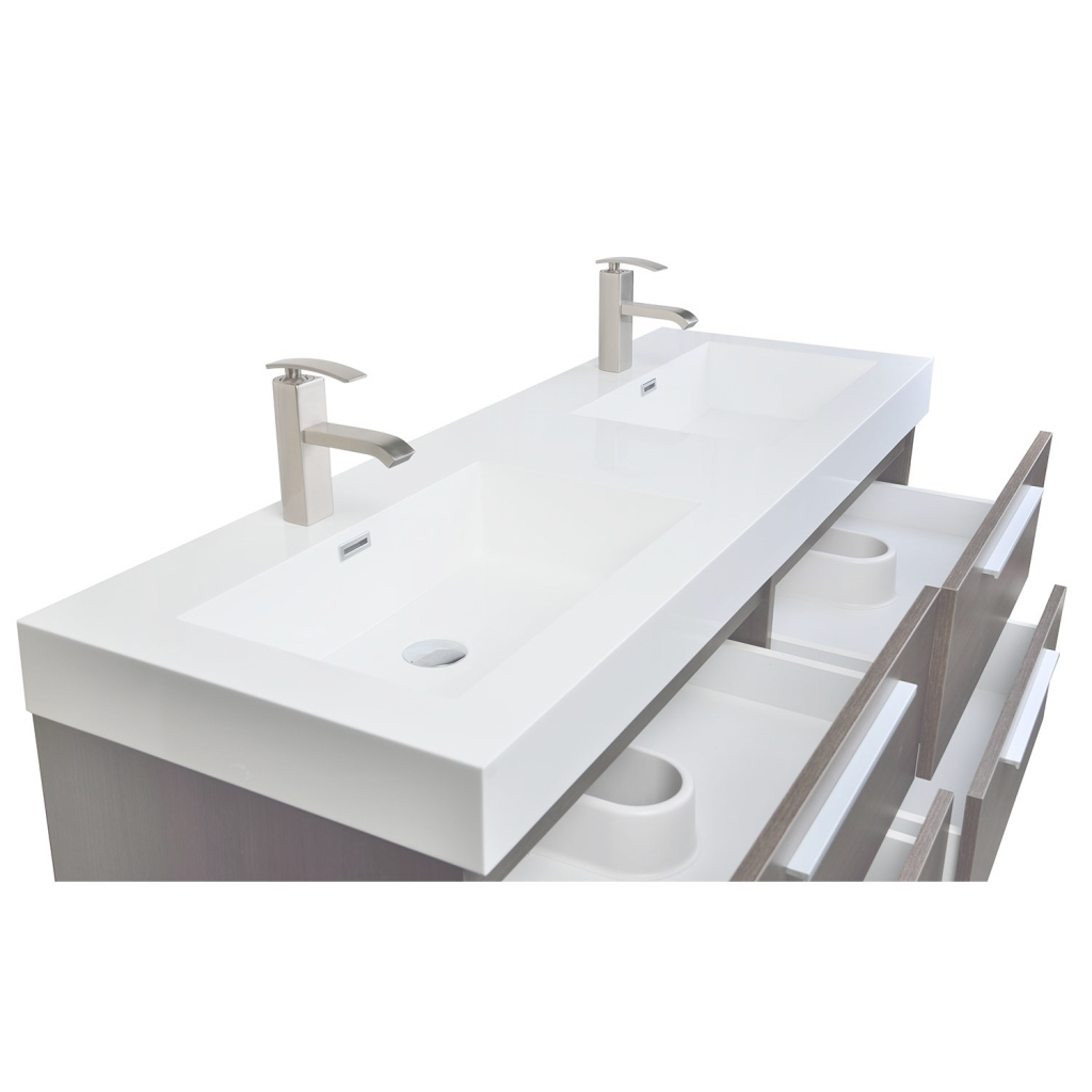 Beautiful Buy 54 Inch Modern Double-Sink Vanity Set With Drawers Grey Oak Tn regarding Beautiful 54 Bathroom Vanity