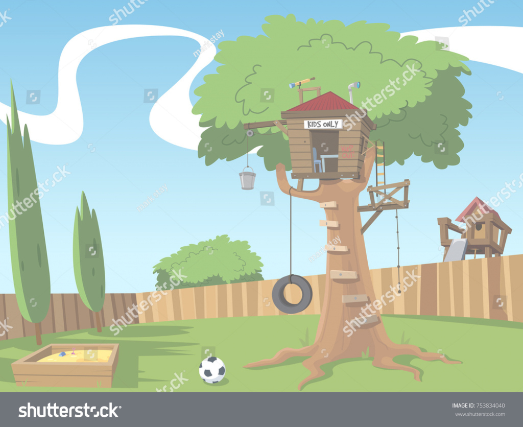 Beautiful Cartoon Scene Tree House Suburban Backyard Stock Illustration with Backyard Cartoon