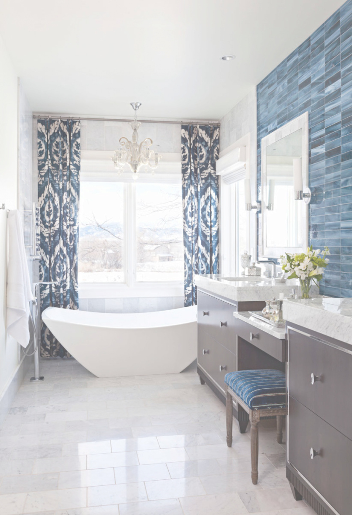Beautiful Decorating Ideas For Blue-And-White Bathrooms | Traditional Home intended for Luxury Blue Bathroom Interior Design