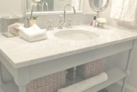 Beautiful Diy White Marble Bathroom Vanity Design With Wicker Rattan And Towel within Marble Bathroom Vanity