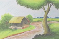 Beautiful How To Draw A Village Landscape With Oil Pastels | Episode-6 - Youtube in Landscape Drawing For Class 6
