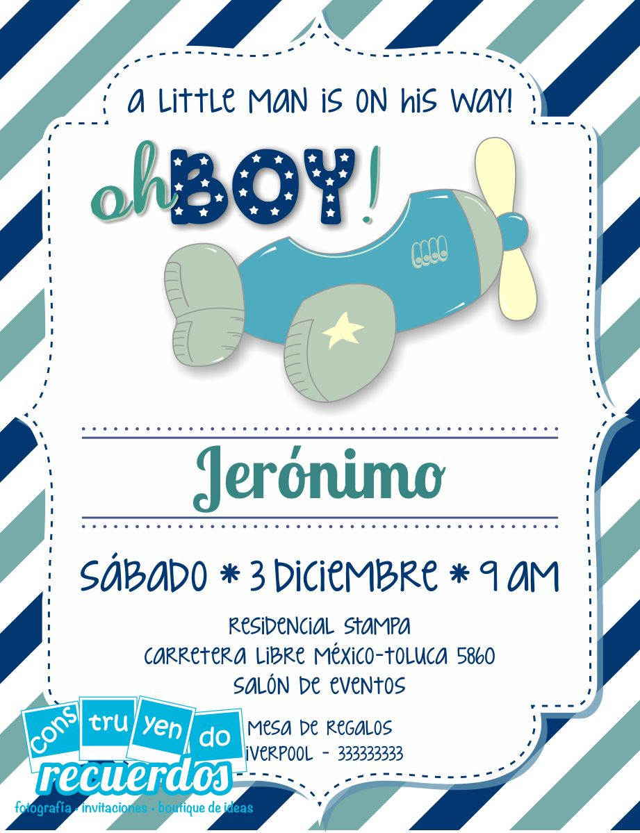 Beautiful Invitación Para Baby Shower De Jerónimo #babyshower throughout Invitaciones Para Baby Shower De Niño