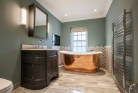 Beautiful Itchingfield House , Master Bathroom, Copper Bath, Marble inside Unique Oval Room Blue Bathroom