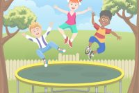 Beautiful Jumping Kids On Trampoline In Backyard Royalty Free Vector regarding Backyard Cartoon