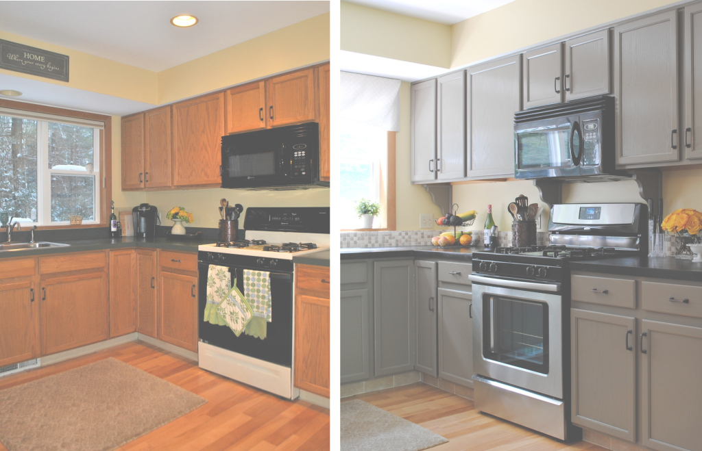 Beautiful Kitchen Cabinets Before And After Excellent On For Stone Countertops in Painted Kitchen Cabinets Before And After