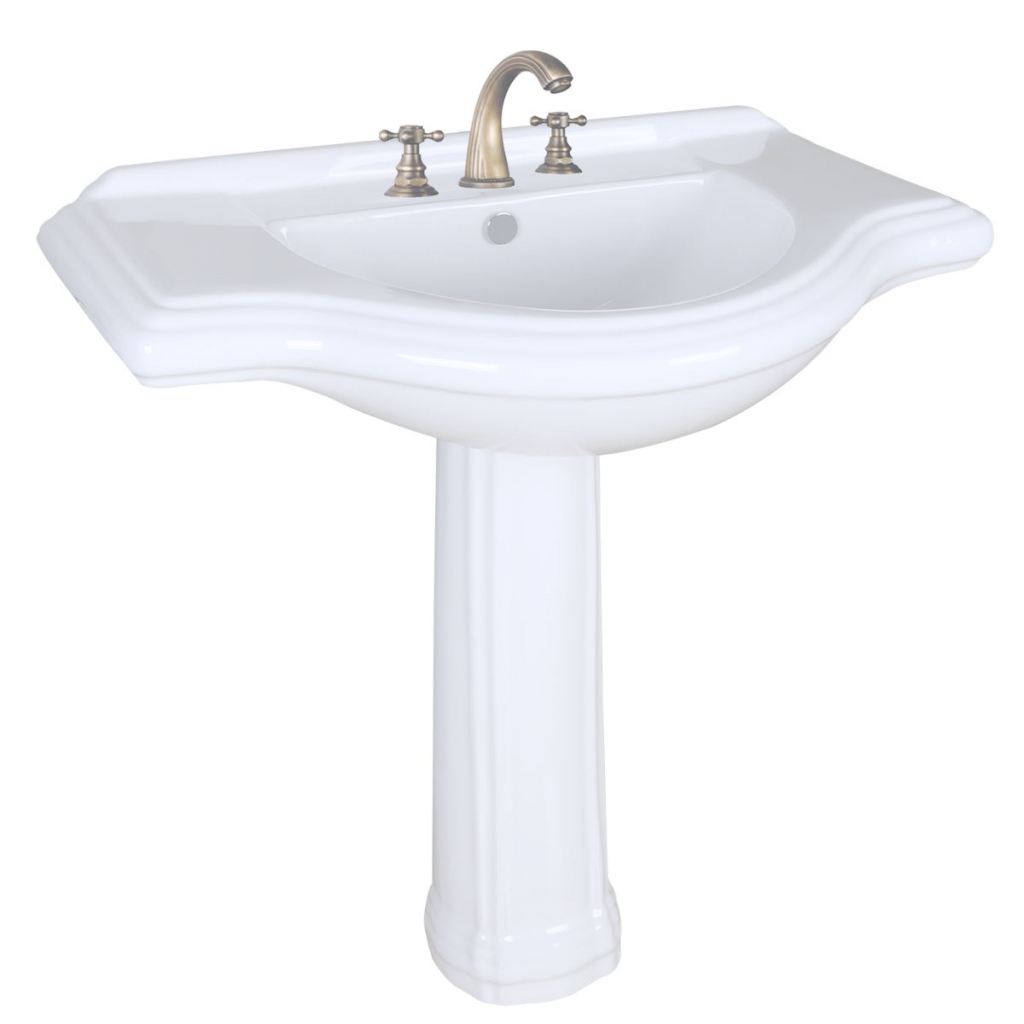 "Beautiful Large Pedestal Sink Bathroom Console 8"" Widespread 34"" W throughout New Large Bathroom Sinks"