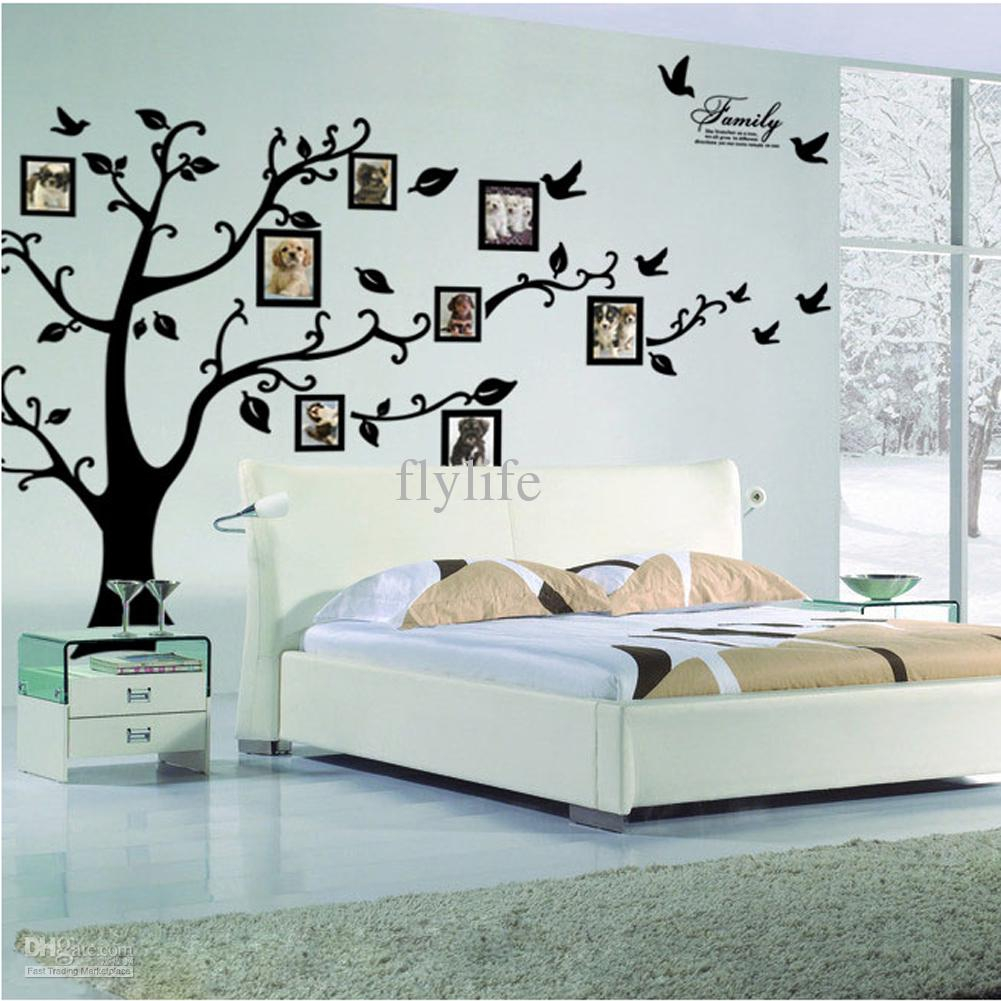 Beautiful Large Size Black Family Photo Frames Tree Wall Stickers, Diy Home throughout Tree Wall Decals For Living Room