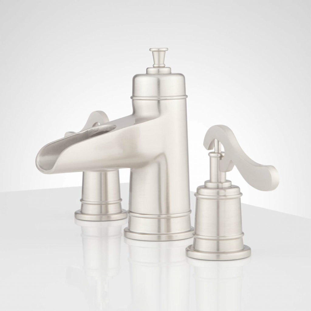 Beautiful Melton Widespread Waterfall Bathroom Faucet - Bathroom intended for Inspirational Satin Nickel Bathroom Faucet