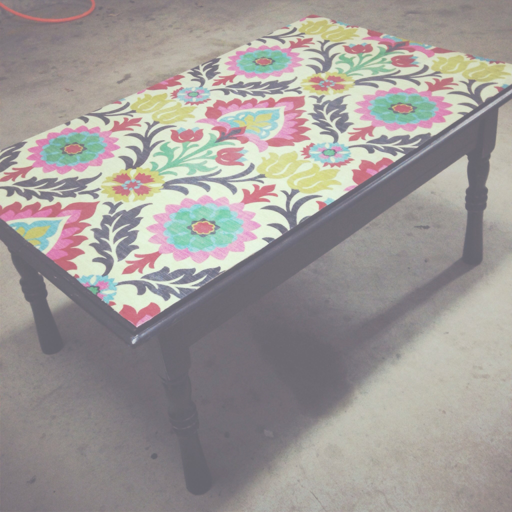 Beautiful Mod Podge Decoupage Fabric Onto A Castaway Coffee Table Preserve in Decoupage Coffee Table