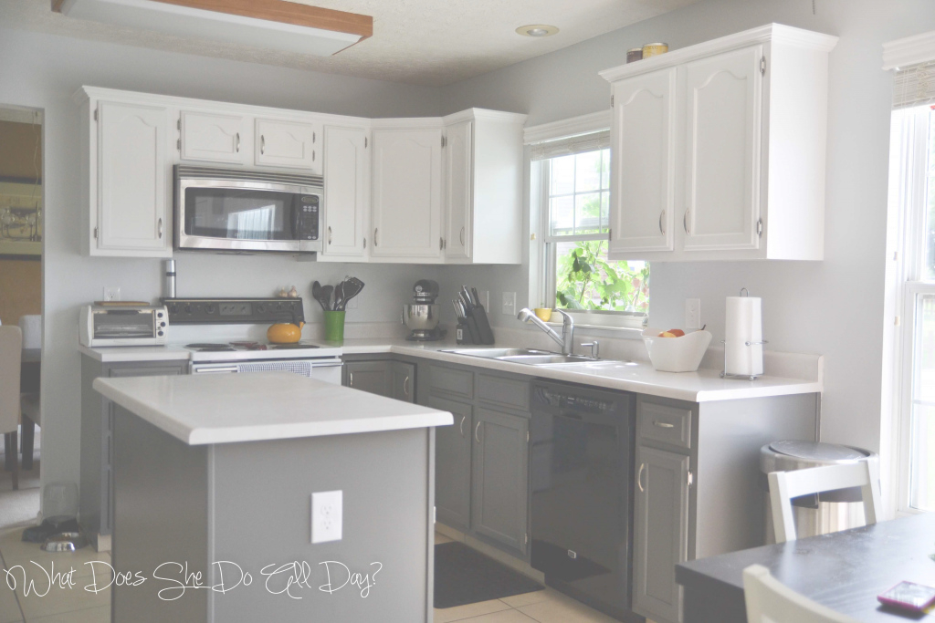 Beautiful Painted Kitchen Cabinets: Before And After - What Does She Do All Day? inside Painted Kitchen Cabinets Before And After