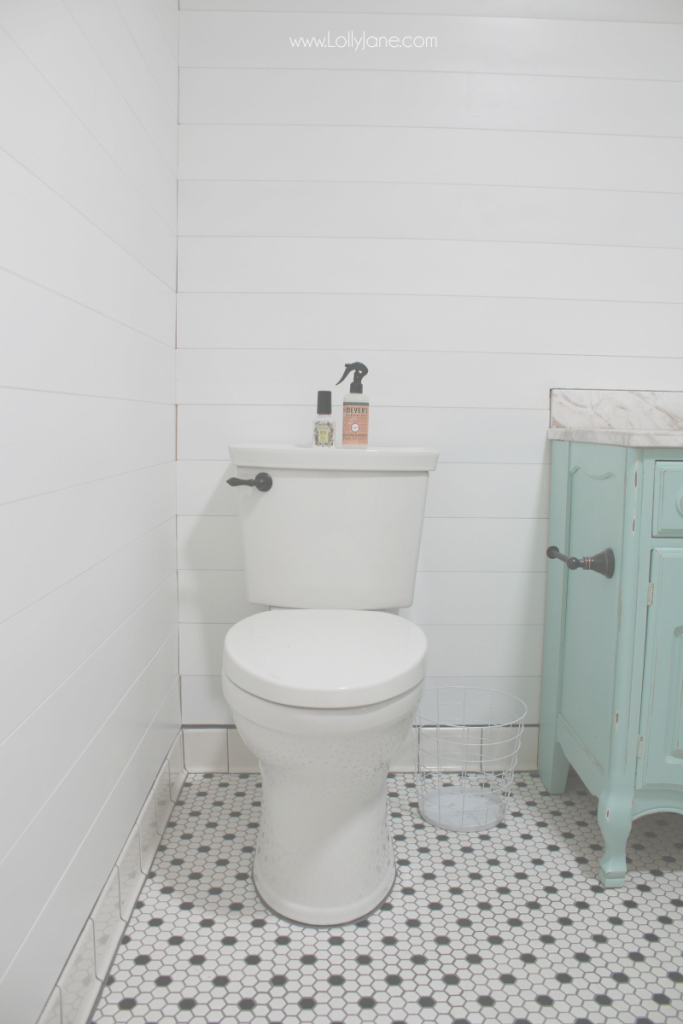 Beautiful Peel & Stick Shiplap Bathroom Wall Treatment - Lolly Jane with regard to Bathrooms With Shiplap
