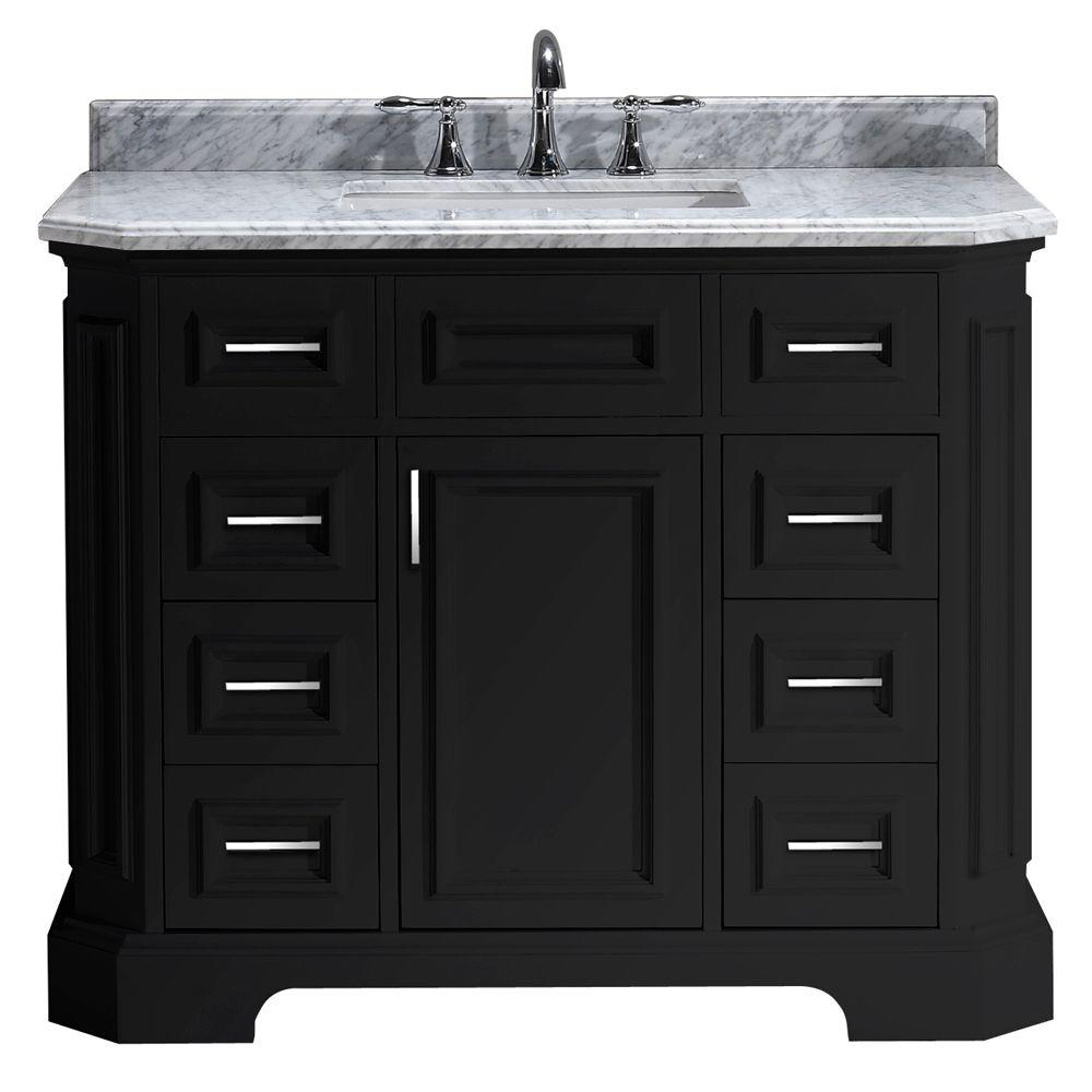Beautiful Pegasus Bristol 42 In. Vanity In Black With Marble Vanity Top In for Elegant 42 Bathroom Vanity Cabinets