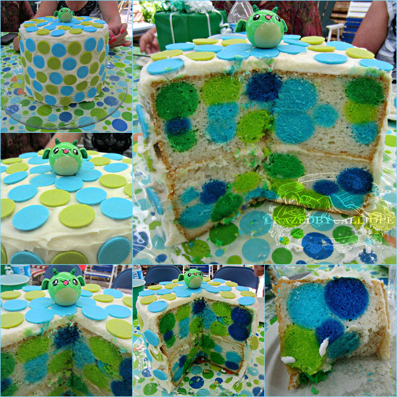 Beautiful Polka Dot Baby Shower Cake (Link To Blog Added!)Crazedbycalliope for Blue And Green Baby Shower