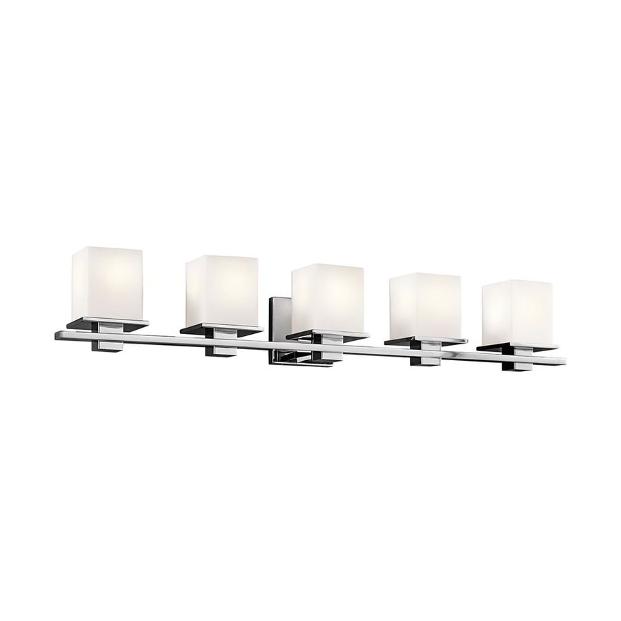 Beautiful Shop Kichler Tully 5-Light 40.25-In Chrome Square Vanity Light At regarding Bathroom Vanity Light Bulbs