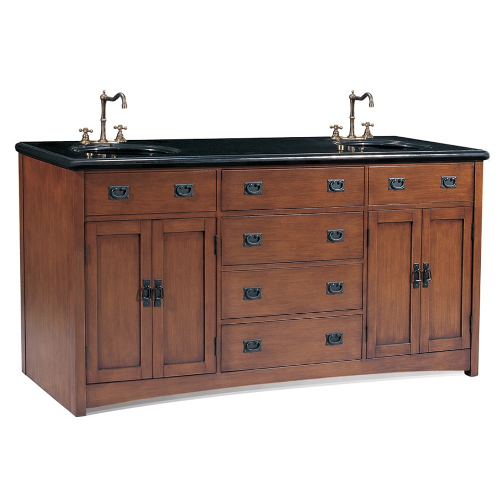 Beautiful Shop Mission Style 72-Inch Medium Pecan Double Sink Bathroom Vanity in Unique Mission Style Bathroom Vanity