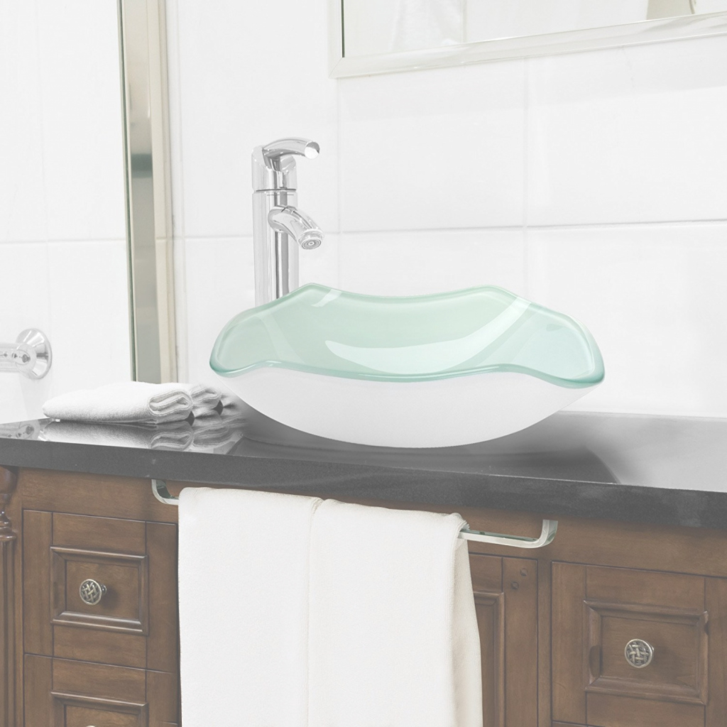 Beautiful Shop Siena Scalloped Bowl Shaped Tempered Glass Bathroom Sink At in Fresh Bowl Bathroom Sink