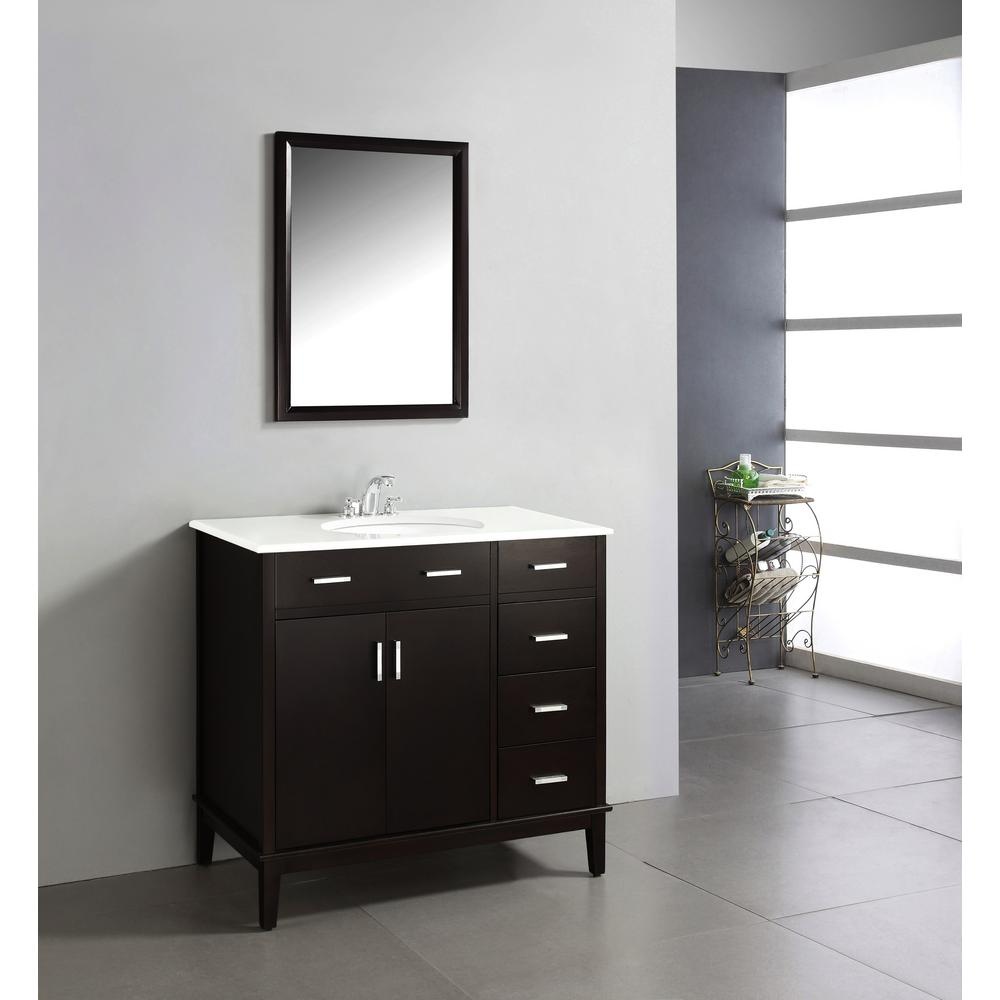 Beautiful Simpli Home Urban Loft 36 In. Vanity In Espresso Brown With Quartz inside Awesome 36 In Bathroom Vanity With Top