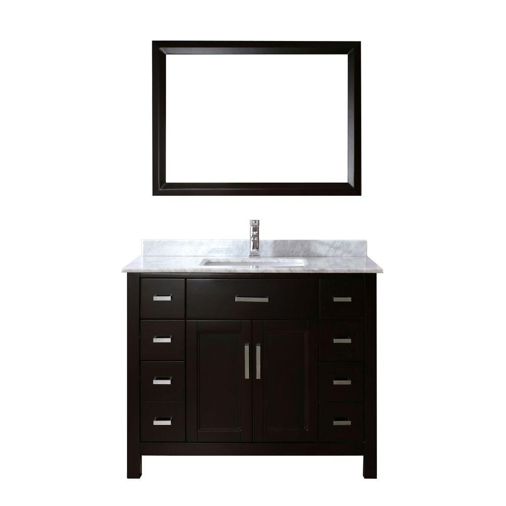 Beautiful Studio Bathe Kelly 42 In. Vanity In Espresso With Marble Vanity Top within Elegant 42 Bathroom Vanity Cabinets