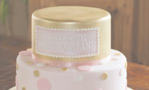 Beautiful Tiered Pink And Gold Sparkle Baby Shower Cake With Polka Dots | Girl inside Pink And Gold Baby Shower Cake
