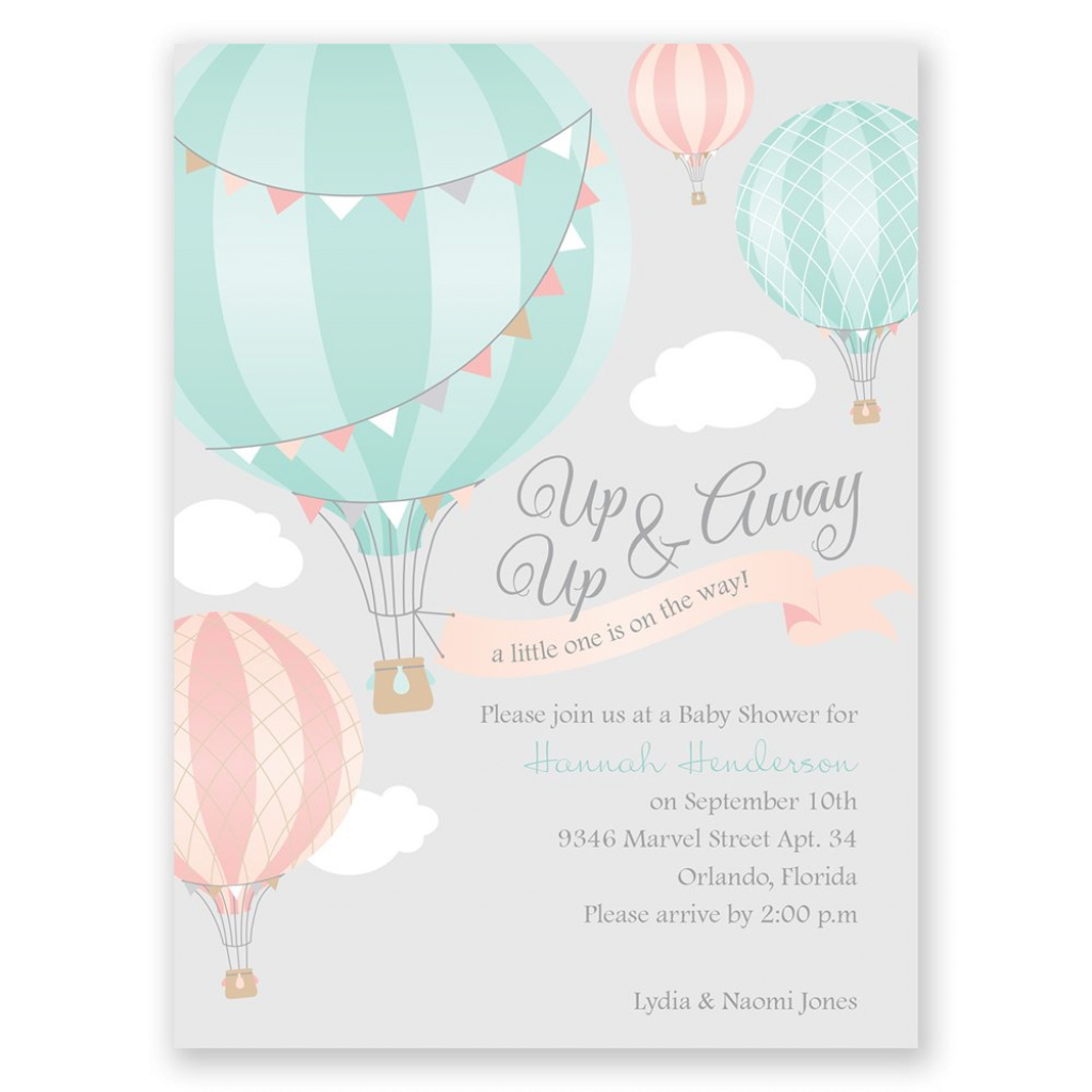 Beautiful Up, Up & Away Petite Baby Shower Invitation | Invitationsdawn intended for Baby Shower Invitations