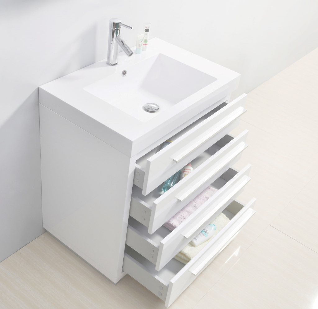 Beautiful Virtu Usa Bailey 30 Single Bathroom Vanity Set In Gloss White throughout Inspirational 30 White Bathroom Vanity