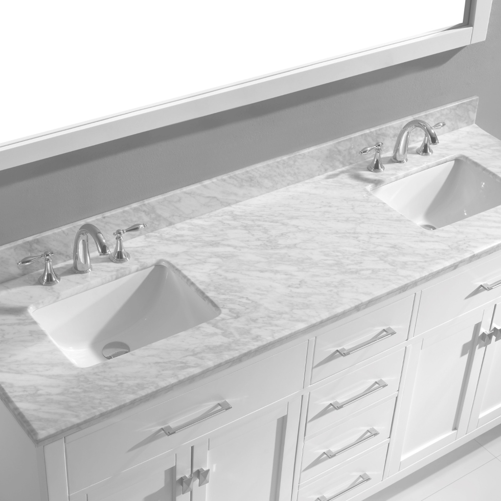 Beautiful Virtu Usa Caroline 72 Double Bathroom Vanity Set In White | Bathtubs regarding Best of Bathroom Vanity 72 Double Sink