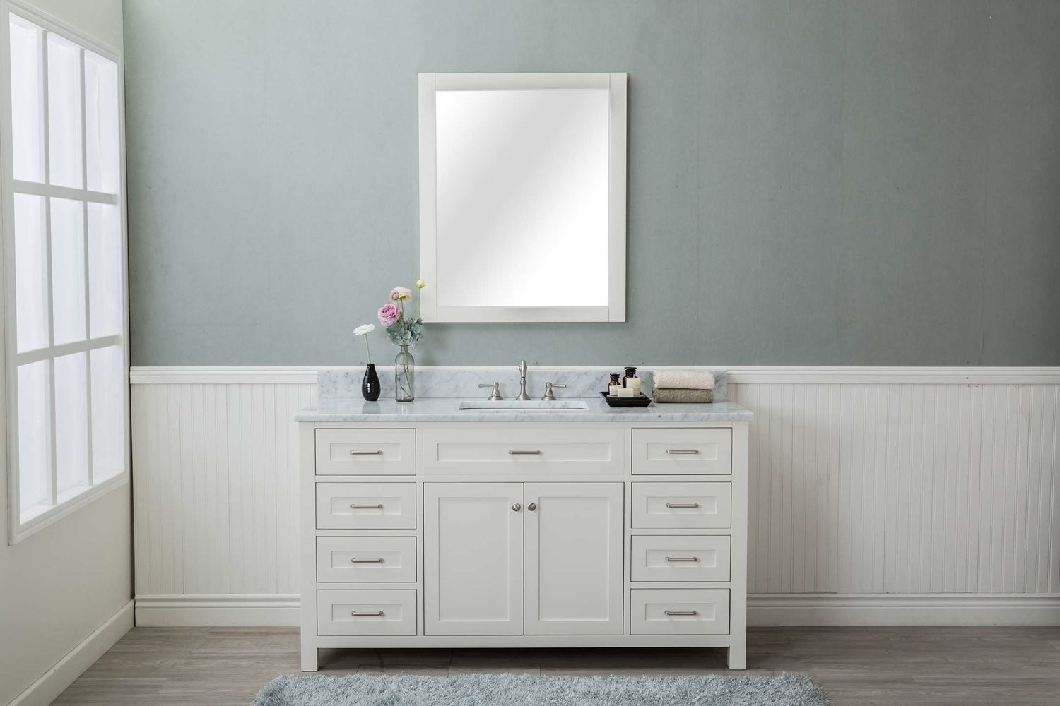 "Beautiful White Shaker 60"" Bathroom 8 Drawers Vanity W/ Marble Top within Shaker Bathroom Cabinets"