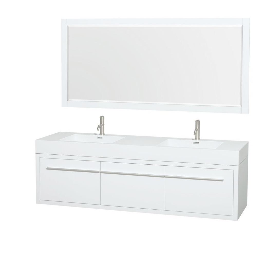 Beautiful Wyndham Collection Axa 72 In. Double Vanity In Gloss White With within New 70 Inch Bathroom Vanity