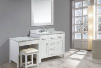 "Cool 42"" London Single Sink Vanity Set In White Finish With One Make-Up intended for Awesome Bathroom Vanity Table"
