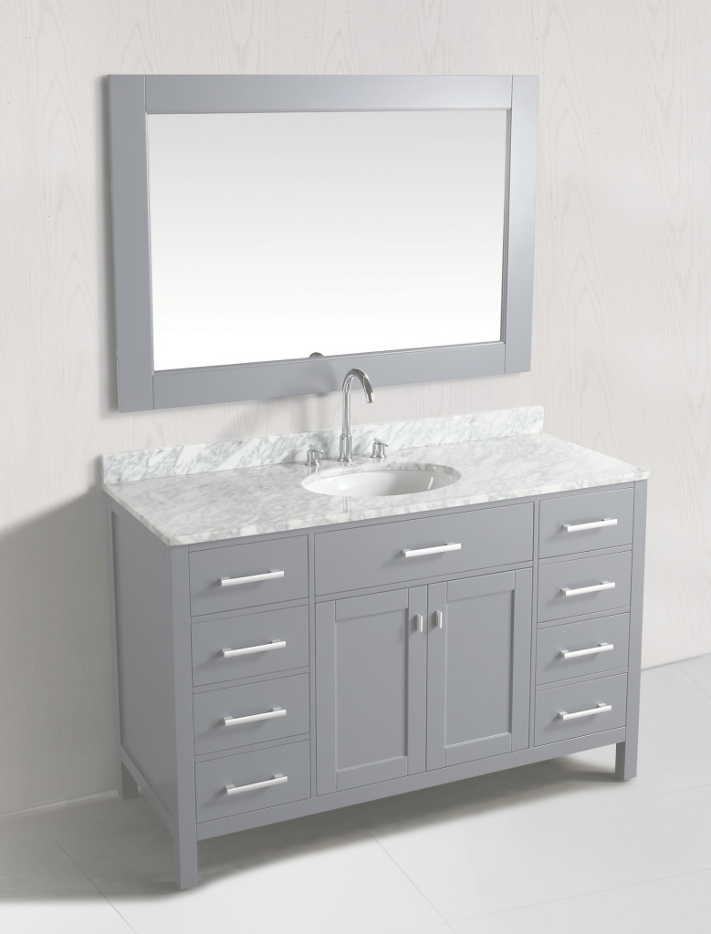 Cool 54 Inch Single Sink Bathroom Vanity Set Grey Finish With White pertaining to Beautiful 54 Bathroom Vanity