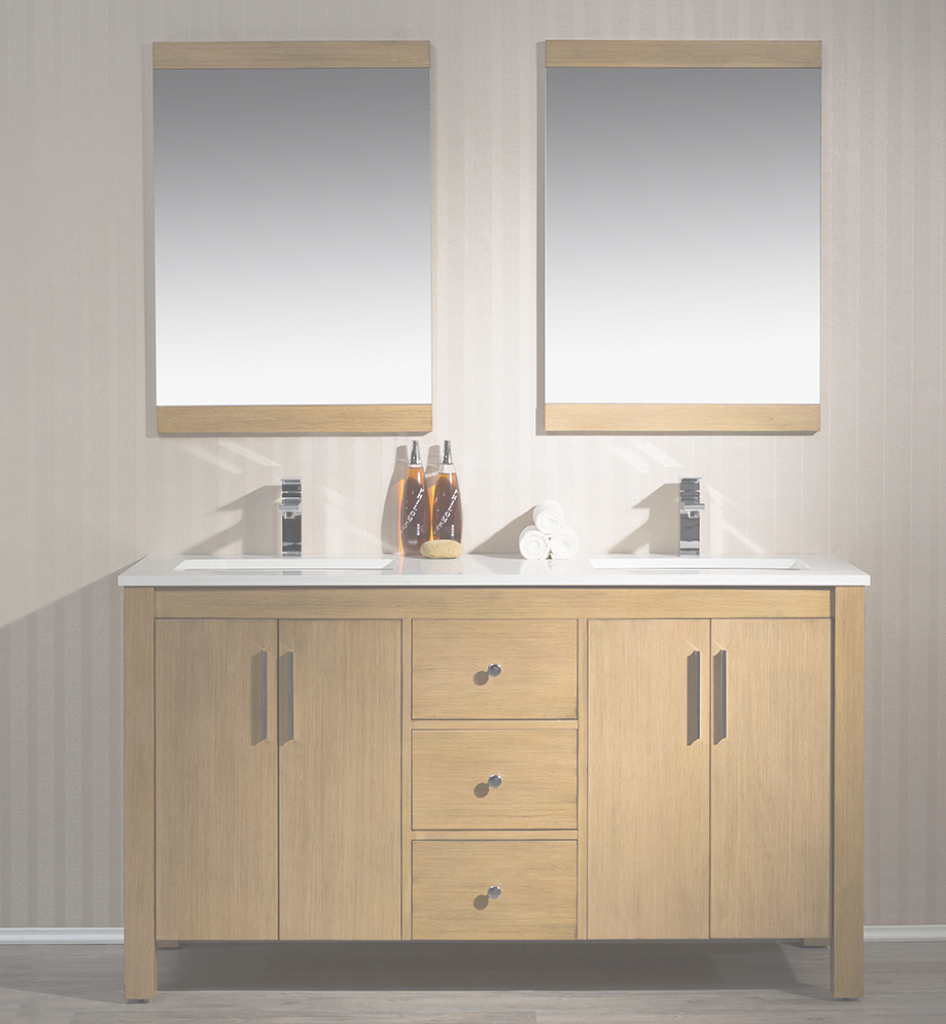 Cool 59 Inch Traditional Brown-Tan Finish Double Bathroom Vanity Quartz Top with regard to Luxury 59 Inch Bathroom Vanity