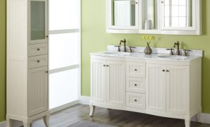 "Cool 60"" Palmetto Creamy White Double Vanity Set - Bathroom with Good quality Double Sink Vanity Bathroom"