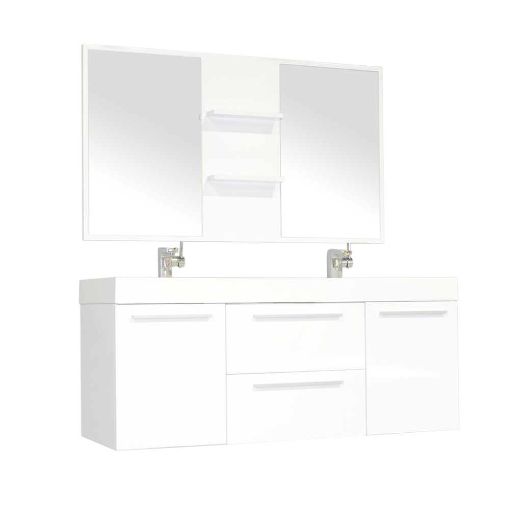 "Cool Alya-At-8047-W 54"" Double Modern Bathroom Vanity 