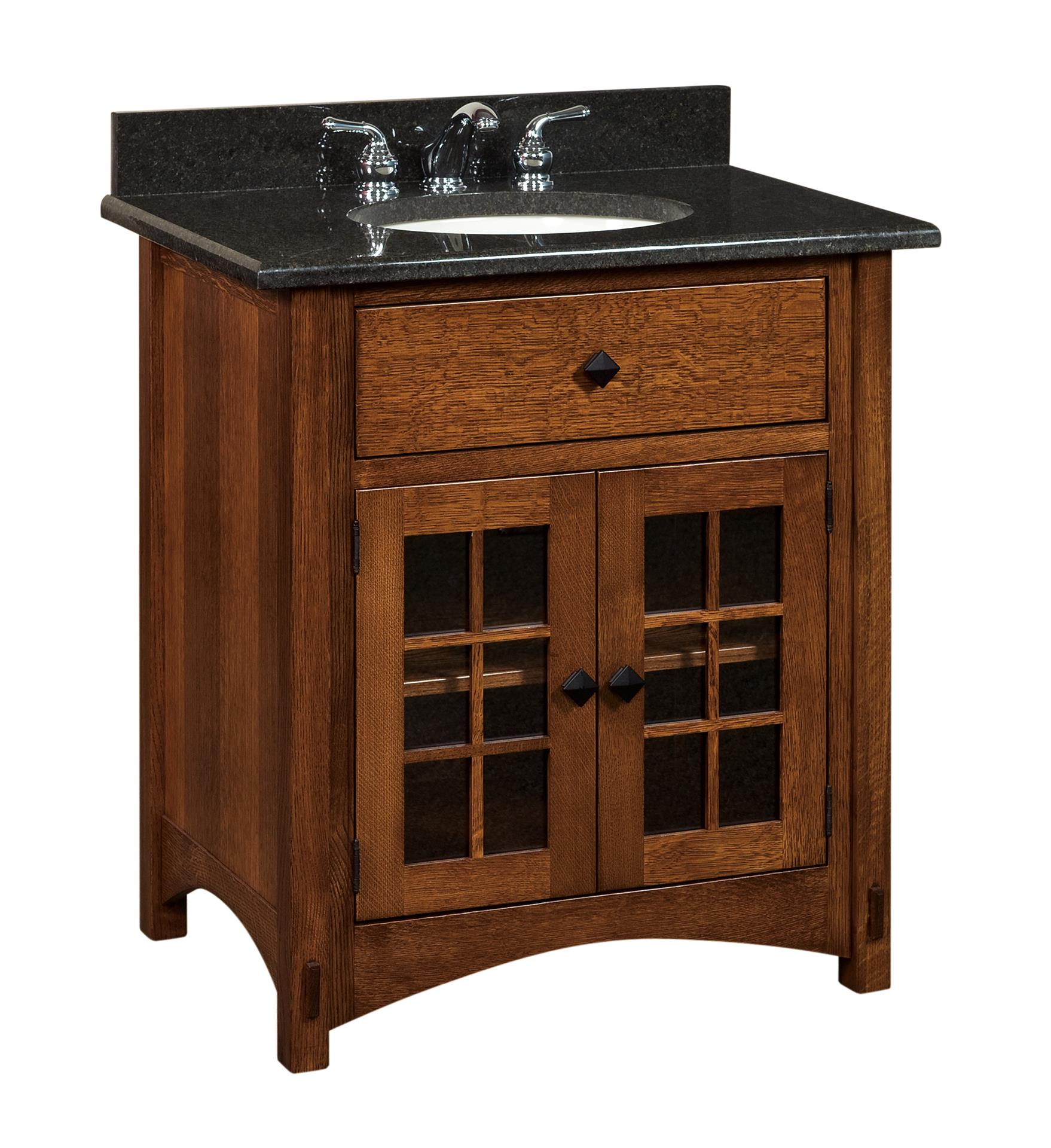 "Cool Amish Bathroom Vanity Solid Wood - 33"" Lucern Mission Sink Console for Unique Mission Style Bathroom Vanity"