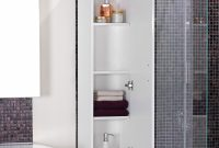 Cool Astounding White Bathroom Cabinets With Four Tier Shelf Over Mosaic within Bathroom Wall Storage Ideas
