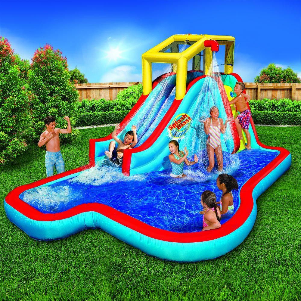 Cool Banzai Splash Blast Lagoon Inflatable Outdoor Water Slide Backyard inside Lovely Backyard Inflatables