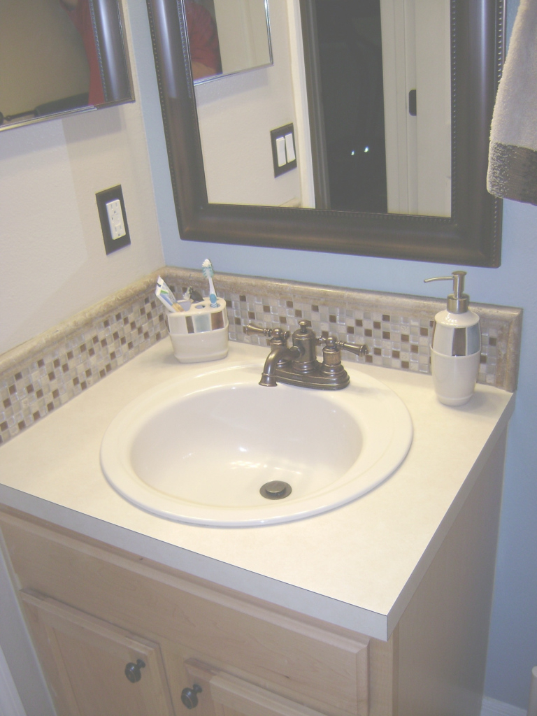 Cool Bathroom : Delightful White And Brown Mosaic Tile Bathroom Sink in Awesome Bathroom Sink Backsplash