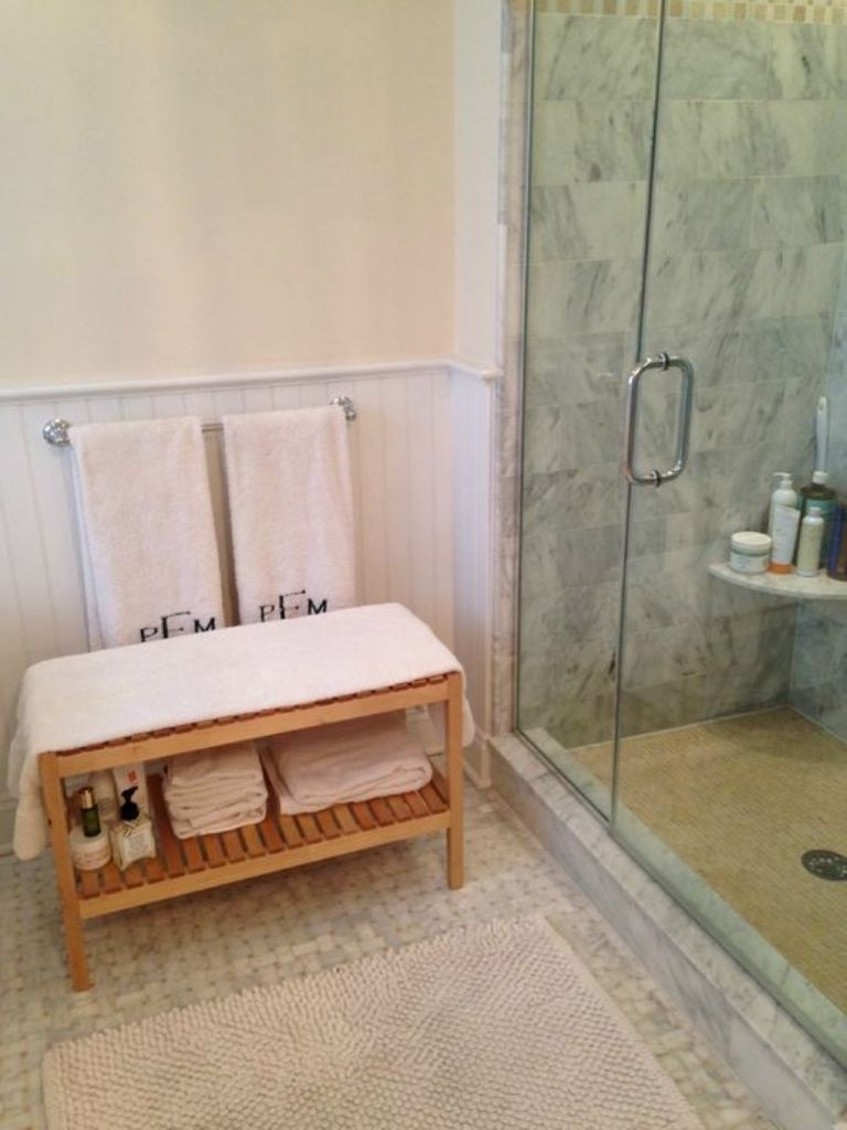Cool Beige Wall Color With Elegant White Glass Shower Enclosure And regarding Bathroom Bench Ideas