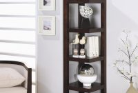Cool Black Wooden Corner Shelf Units With Five Racks On The Floor intended for Elegant Corner Shelves For Living Room