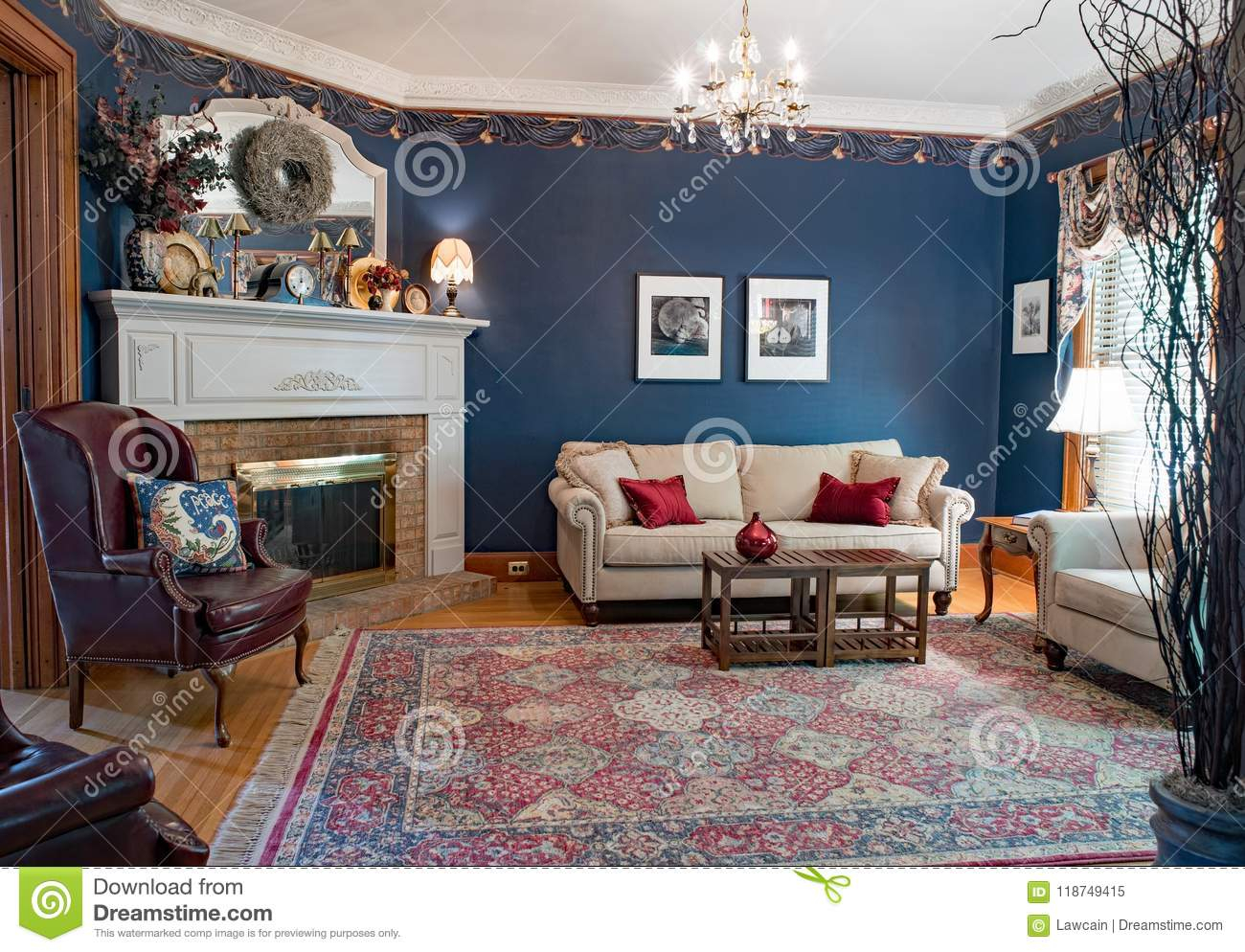 Cool Blue Victorian Living Room Editorial Image. Image Of Blue - 118749415 inside Living Room Dayton