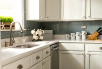 Cool Builder Grade Kitchen Makeover With White Paint inside Beautiful Kitchen Without Backsplash