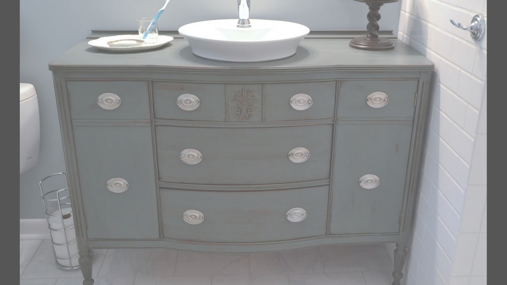 Cool Diy Bathroom Vanity From Dresser - Youtube pertaining to Dresser Bathroom Vanity