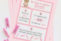 Cool Dont Say Baby Spanish – Baby Shower Game – Size 8 X 10 – 3 Different pertaining to Beautiful How Do You Say Baby Shower In Spanish