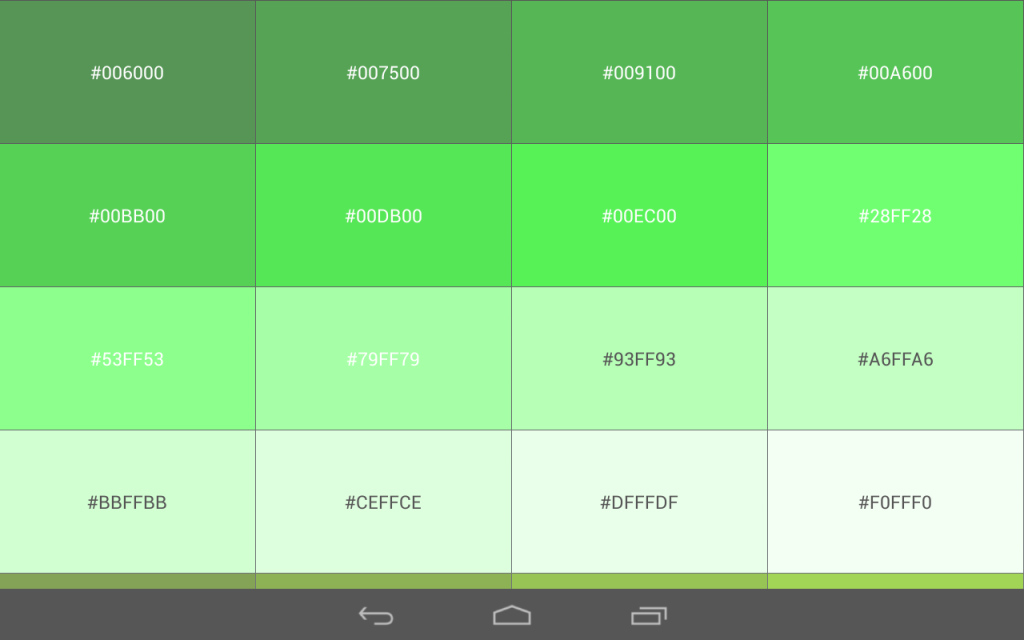 Cool Gallery: Green Colour Code, - Drawings Art Gallery regarding Review Android Color Codes