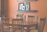 Cool Good Idea For The Large Wall..instead Of A Mirror. (3 Shelves Dark pertaining to Awesome Orange Dining Room