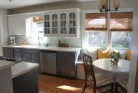 Cool Gray And White Kitchen Makeover With Hexagon Tile Red Kitchen Walls throughout Grey And White Kitchen Cabinets