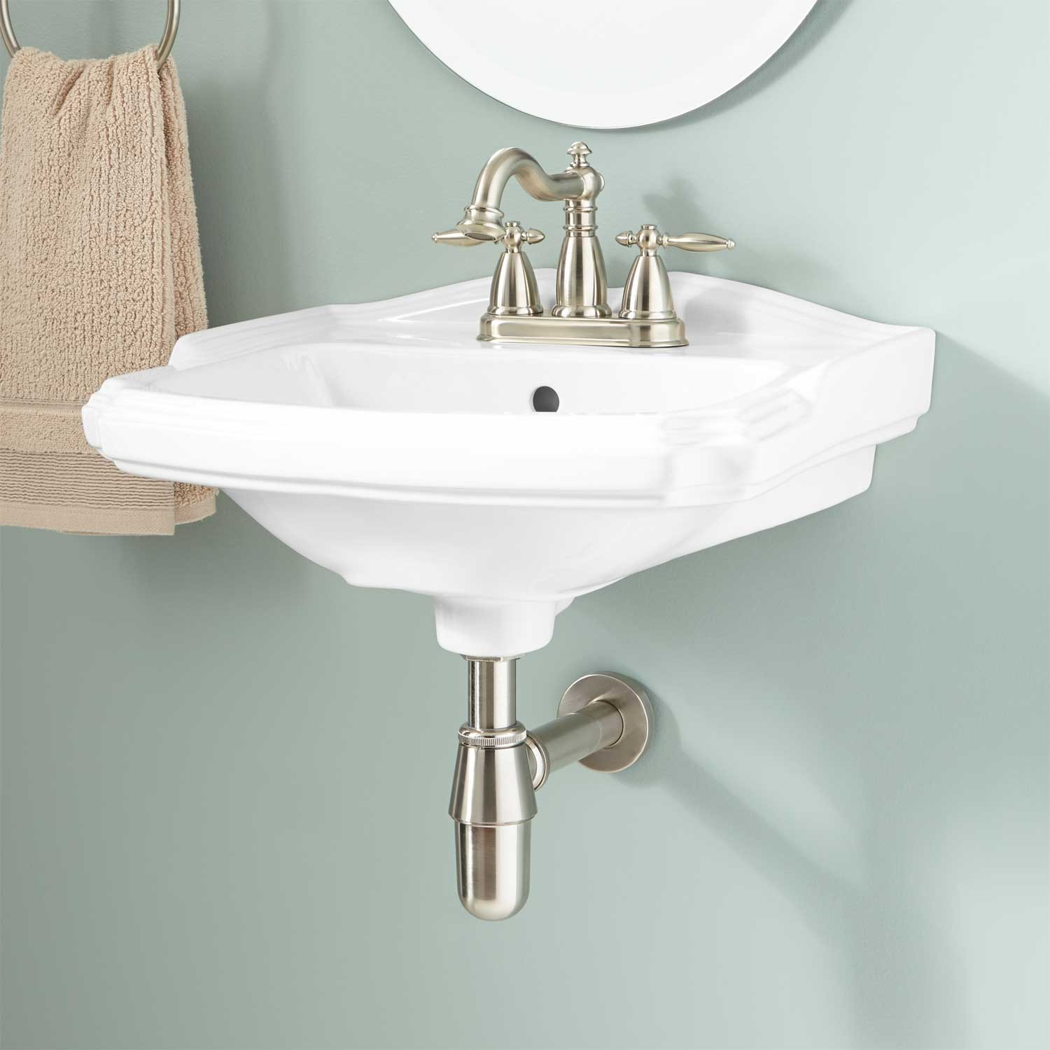 Cool Halden Porcelain Wall-Mount Bathroom Sink - Bathroom within Small Bathroom Sinks Wall Mount