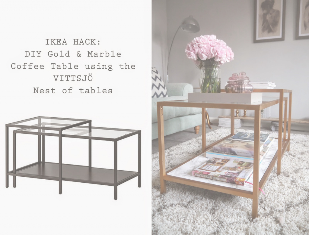 Cool Ikea Hack: A Gold & Marble Coffee Table - for Ikea Coffee Table Hack